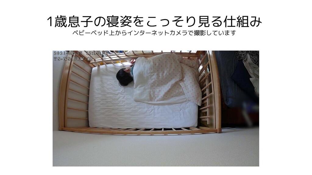 1歳息子の寝姿をこっそり見る仕組み ベビーベッド上からインターネットカメラで撮影しています