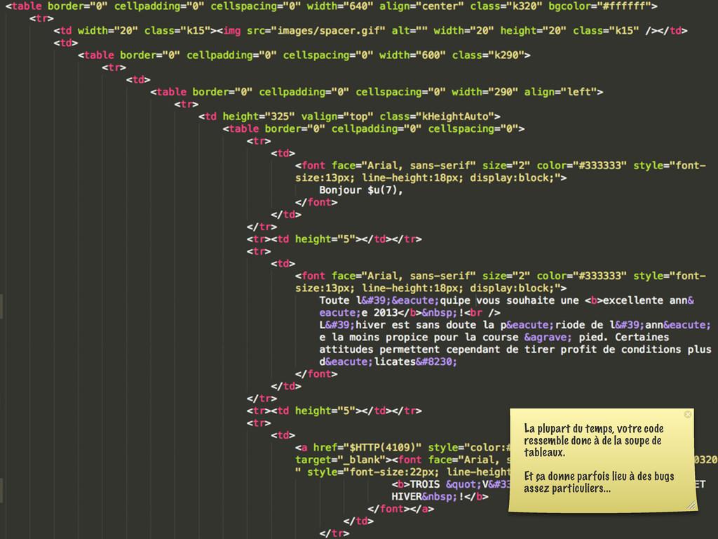 La plupart du temps, votre code ressemble donc ...