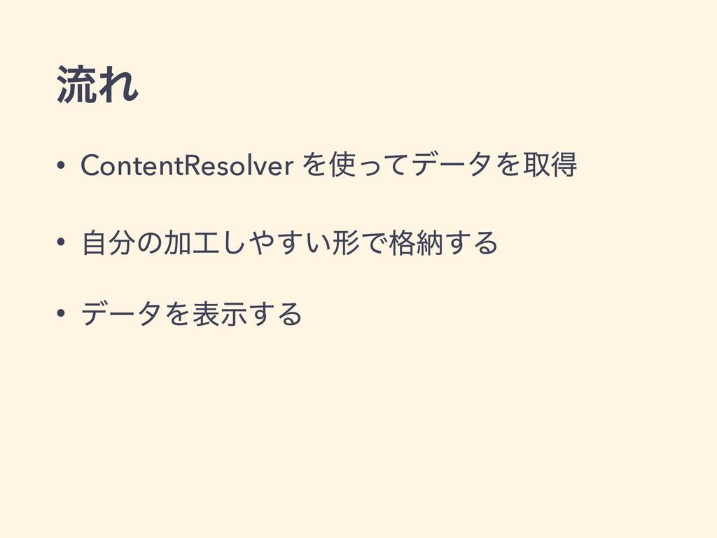 ྲྀΕ • ContentResolver ΛͬͯσʔλΛऔಘ • ࣗͷՃ͍͢͠ܗͰ֨ೲ...