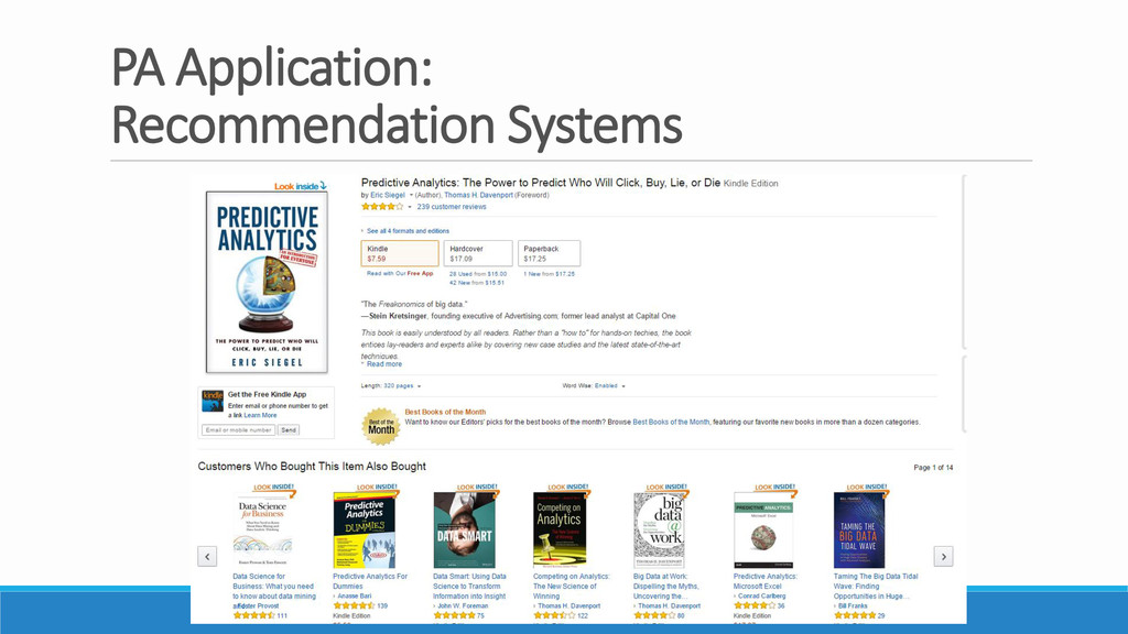 PA Application: Recommendation Systems