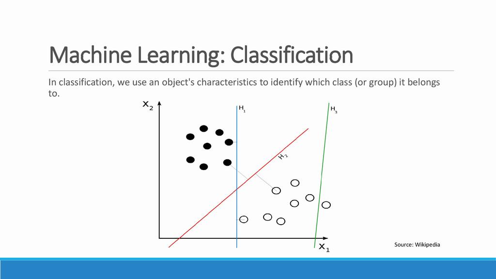 Machine Learning: Classification In classificat...