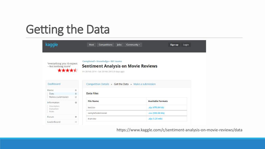 Getting the Data https://www.kaggle.com/c/senti...