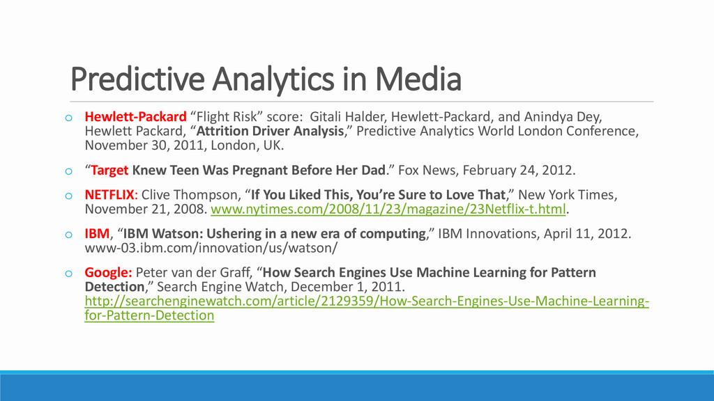 Predictive Analytics in Media o Hewlett-Packard...
