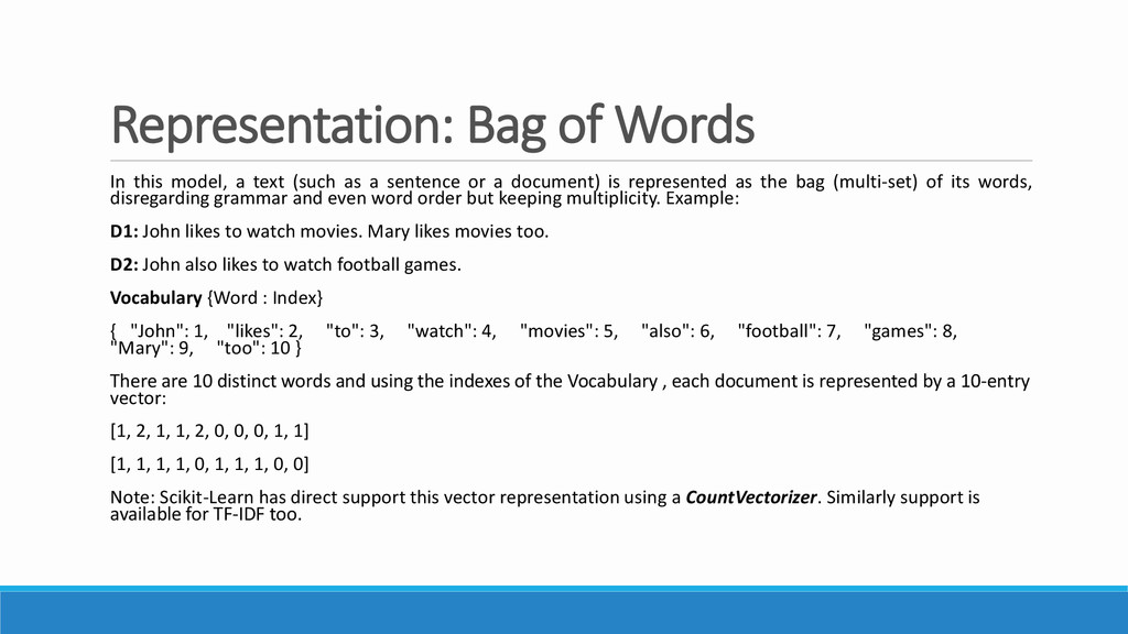 Representation: Bag of Words In this model, a t...