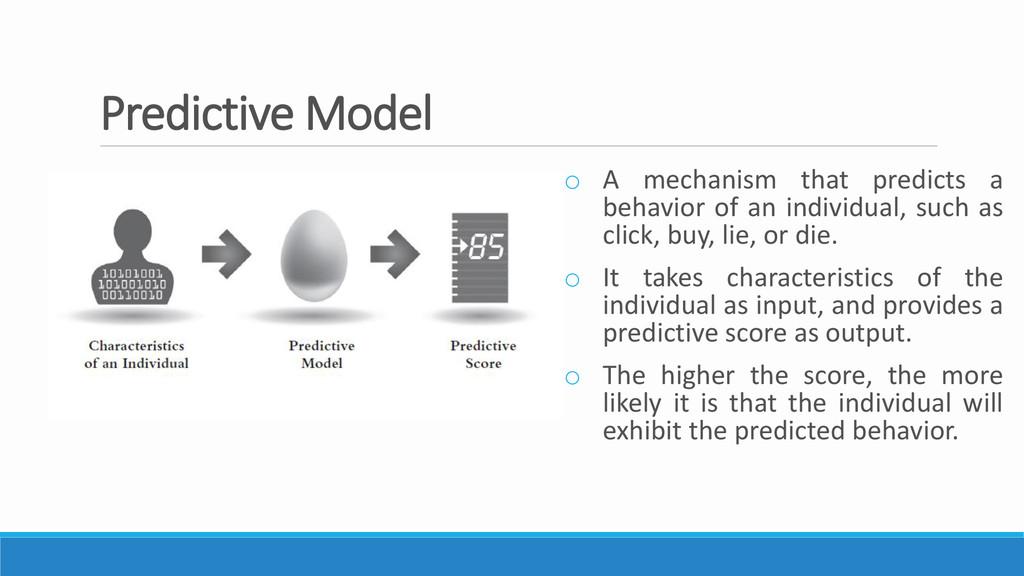 Predictive Model o A mechanism that predicts a ...