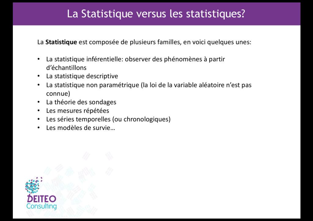 La Statistique versus les statistiques? La Stat...