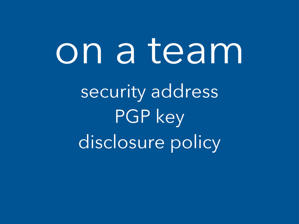 on a team security address PGP key disclosure p...