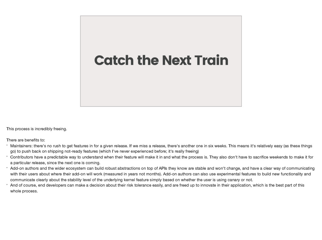 Catch the Next Train This process is incredibly...