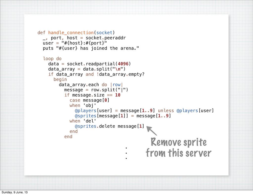 def handle_connection(socket) _, port, host = s...