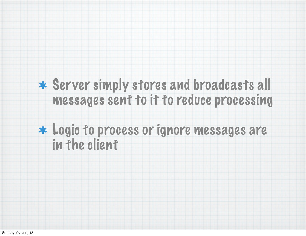 Server simply stores and broadcasts all message...