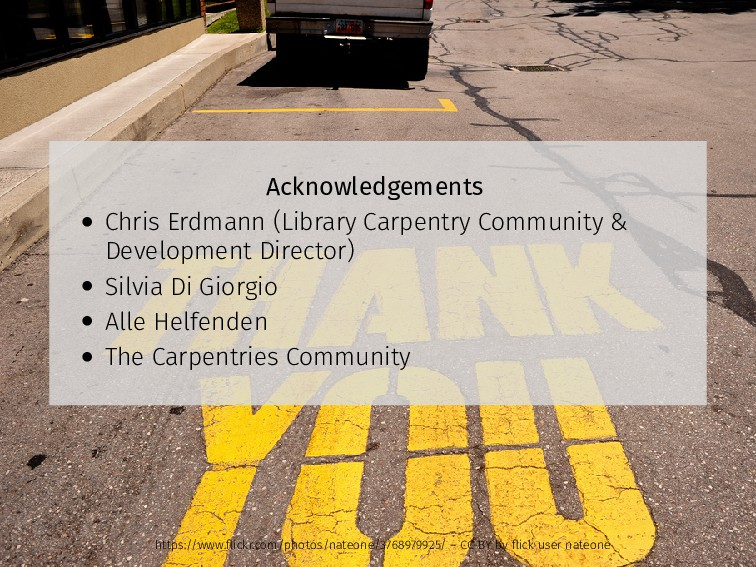Acknowledgements • Chris Erdmann (Library Carpe...