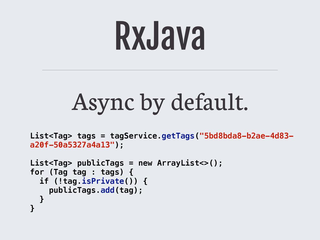 RxJava Async by default. List<Tag> tags = tagSe...