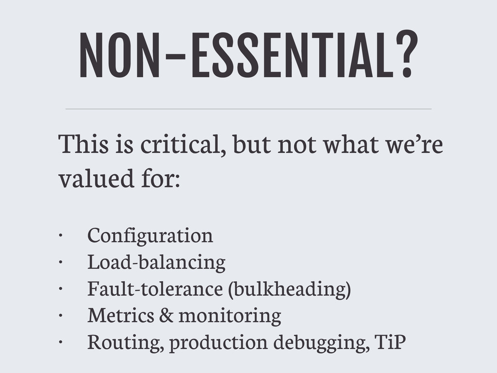 NON-ESSENTIAL? This is critical, but not what w...
