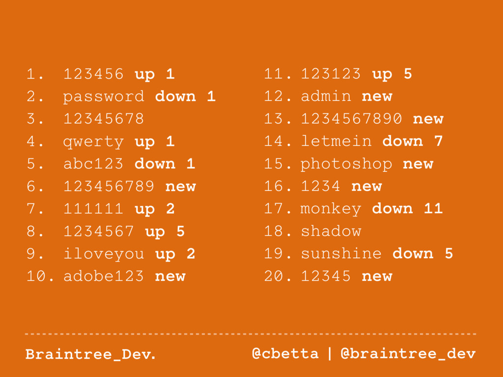Braintree_Dev. @cbetta   @braintree_dev 1. 1234...