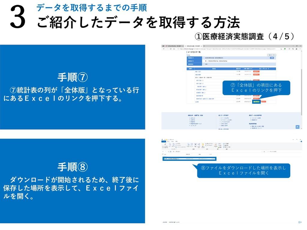 手順⑧ ダウンロードが開始されるため、終了後に 保存した場所を表示して、Excelファイ ルを...