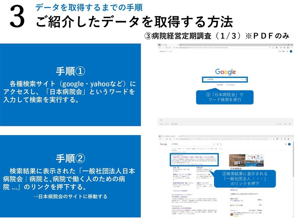 手順② 検索結果に表示された「一般社団法人日本 病院会|病院と、病院で働く人のための病 院 ....