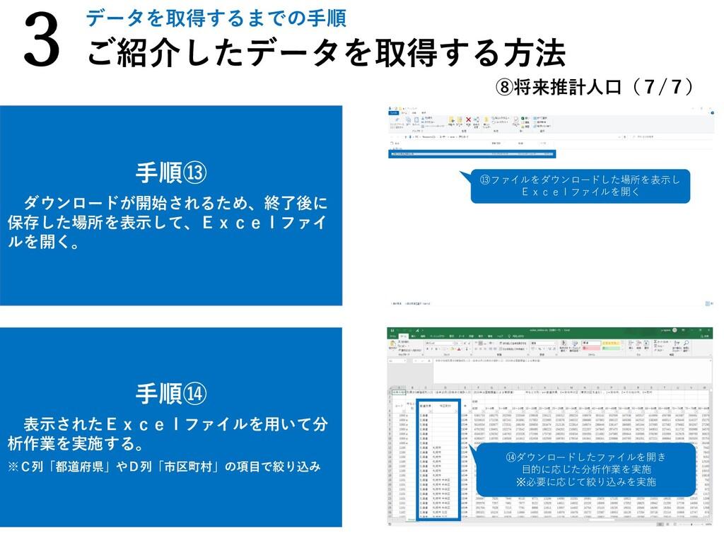 手順⑭ 表示されたExcelファイルを用いて分 析作業を実施する。 ※C列「都道府県」やD列「...
