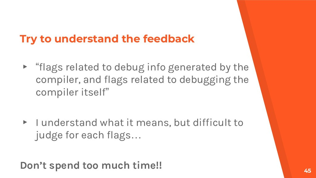 """Try to understand the feedback ▸ """"flags related..."""