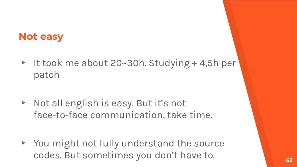 Not easy ▸ It took me about 20~30h. Studying + ...