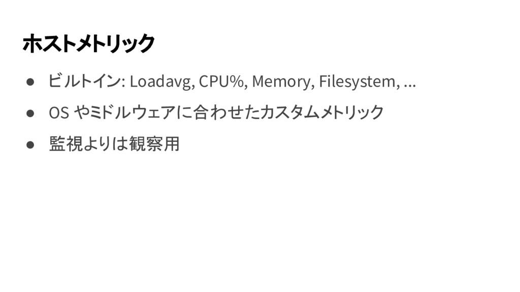 ホストメトリック ● ビルトイン: Loadavg, CPU%, Memory, Filesy...