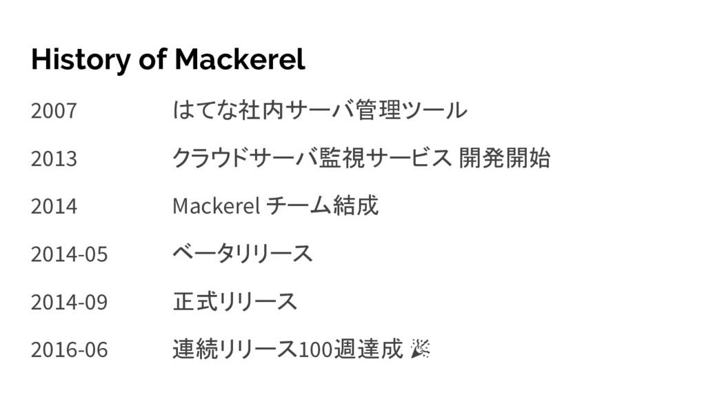 History of Mackerel 2007 はてな社内サーバ管理ツール 2013 クラウ...