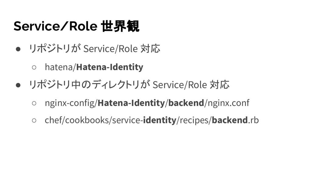 Service/Role 世界観 ● リポジトリが Service/Role 対応 ○ hat...