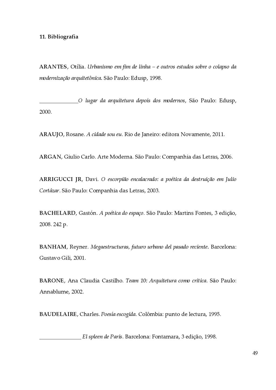 49 11. Bibliografia    ARANTES, Otília. Ur...