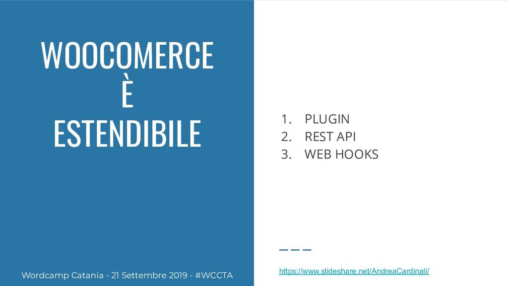 WOOCOMERCE È ESTENDIBILE 1. PLUGIN 2. REST API ...