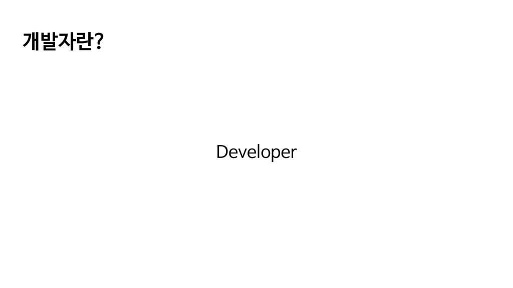 개발자란? Developer