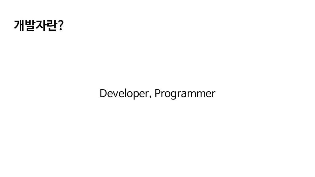 개발자란? Developer, Programmer