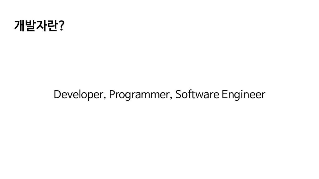 개발자란? Developer, Programmer, Software Engineer