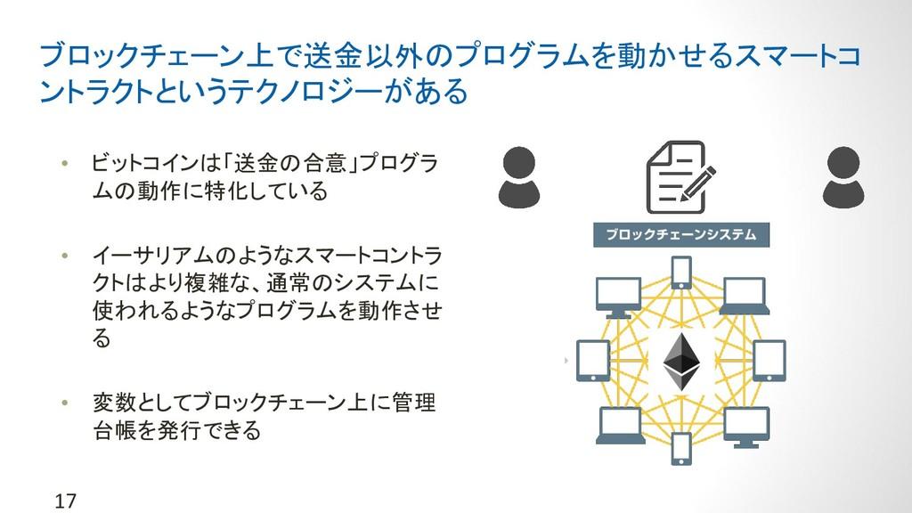 17 ブロックチェーン上で送金以外のプログラムを動かせるスマートコ ントラクトというテクノロジ...