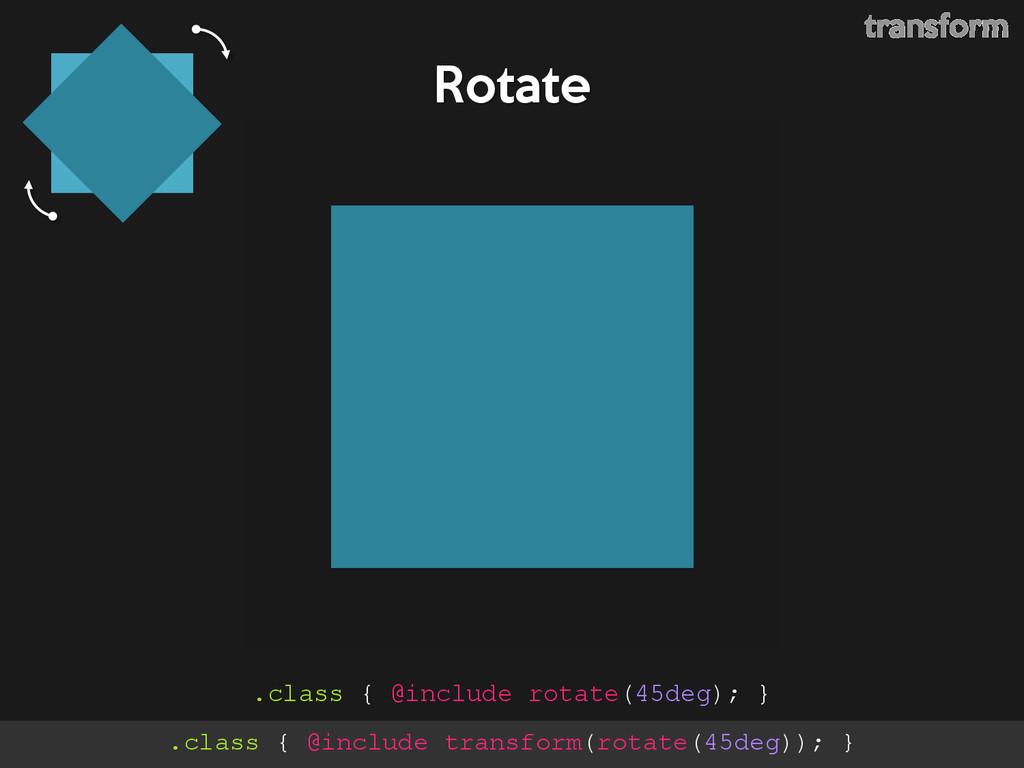 Rotate .class { @include rotate(45deg); } trans...