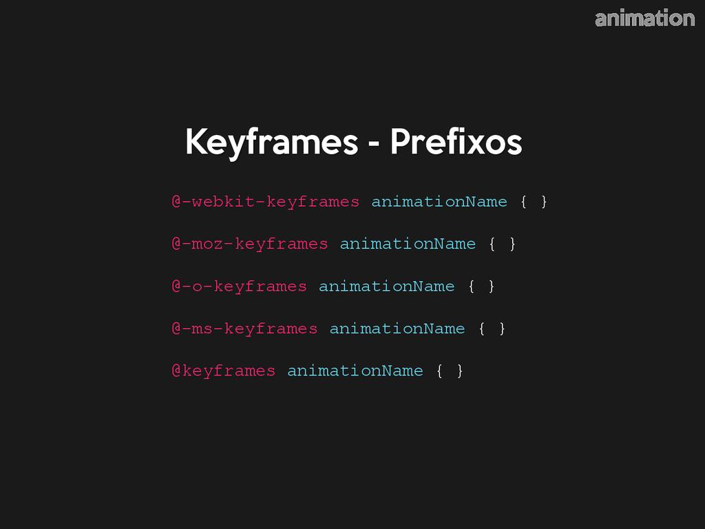 Keyframes - Prefixos animation @-webkit-keyfram...