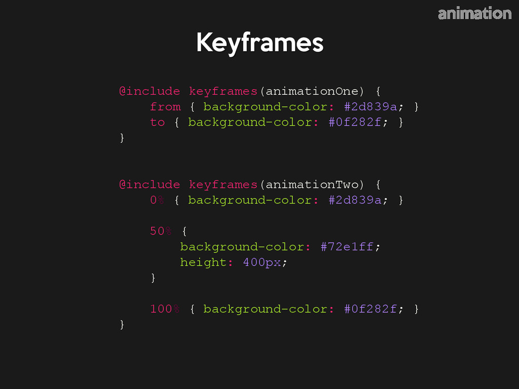 @include keyframes(animationOne) { from { backg...