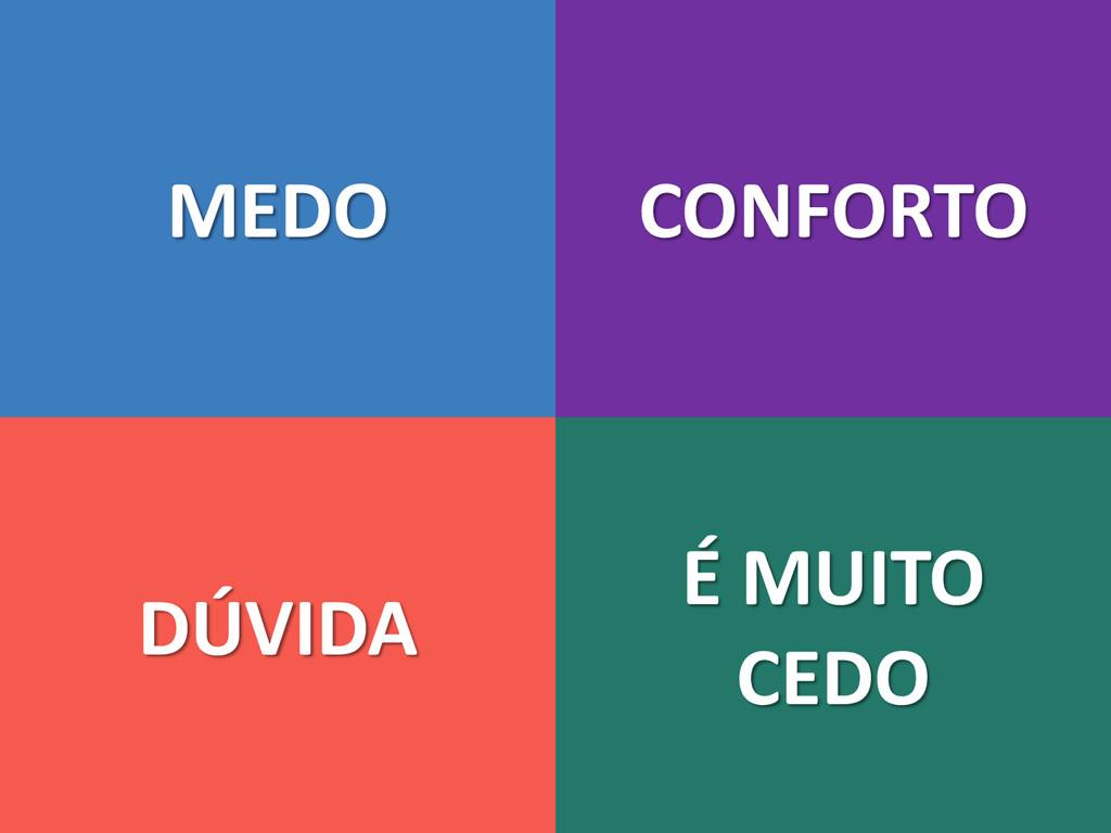 MEDO DÚVIDA CONFORTO É MUITO CEDO