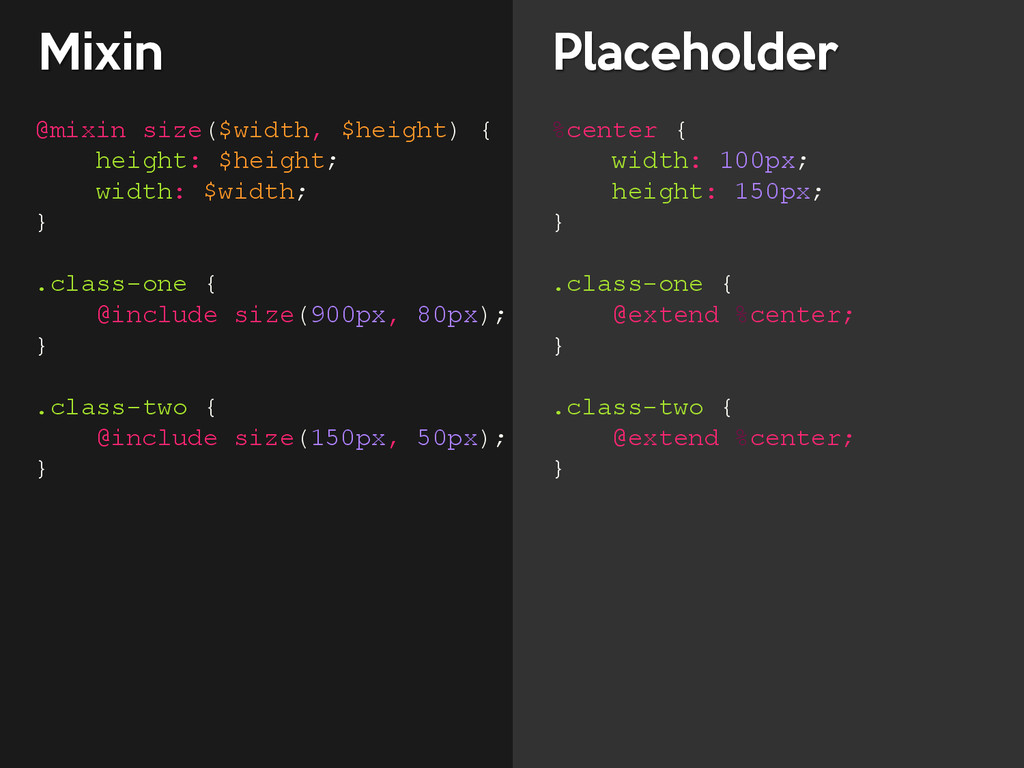 Mixin Placeholder @mixin size($width, $height) ...