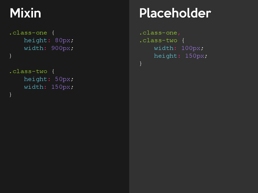 Mixin Placeholder .class-one { height: 80px; wi...