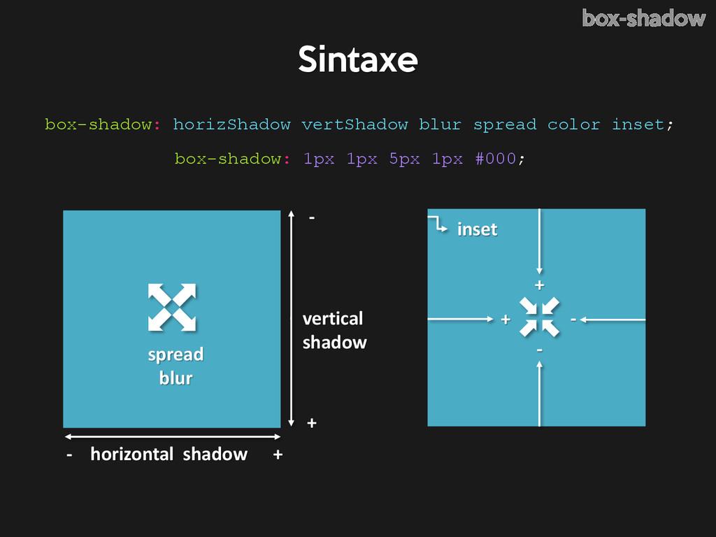 box-shadow: horizShadow vertShadow blur spread ...