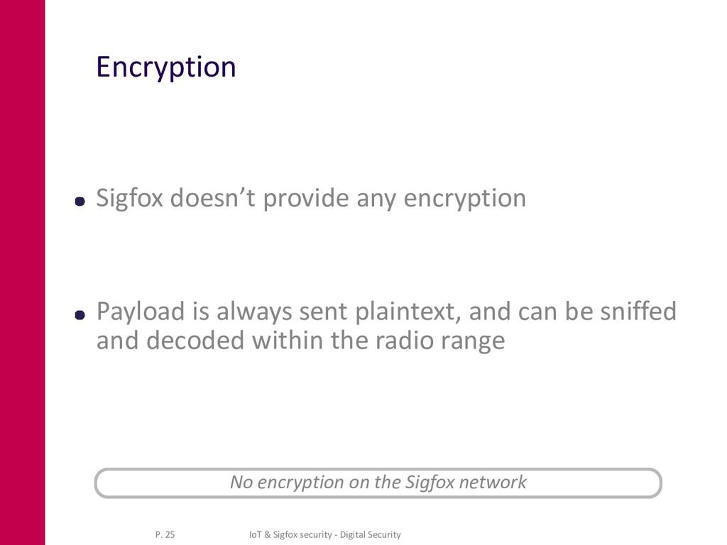 Encryption Sigfox doesn't provide any encryptio...