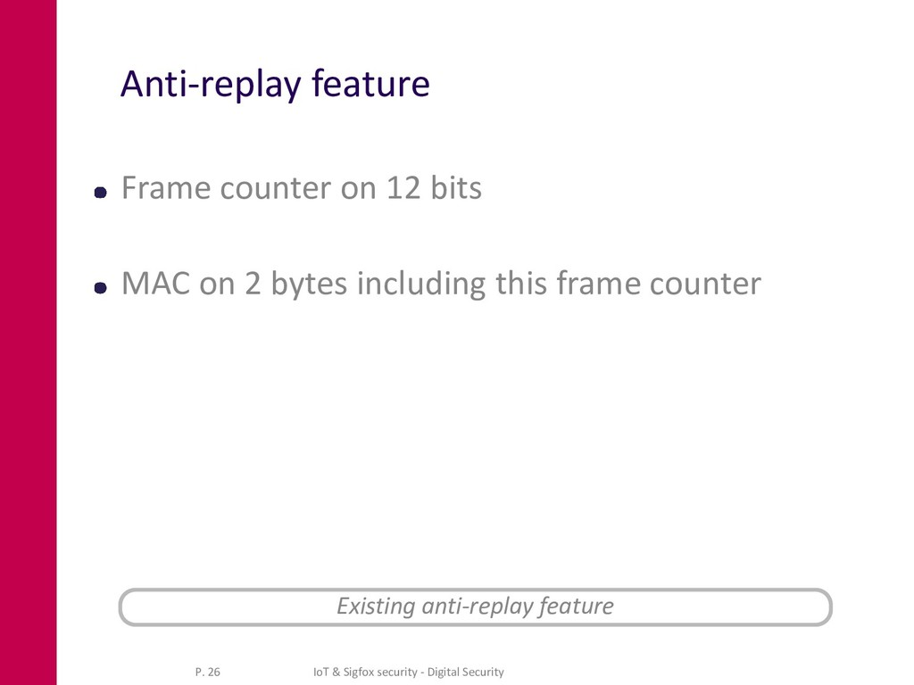 Anti-replay feature Frame counter on 12 bits MA...