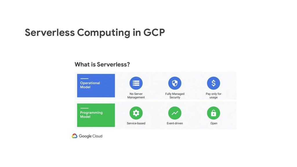 Serverless Computing in GCP