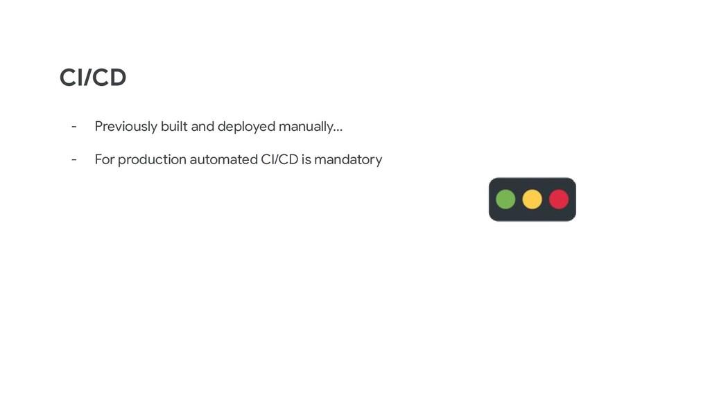 CI/CD - Previously built and deployed manually…...