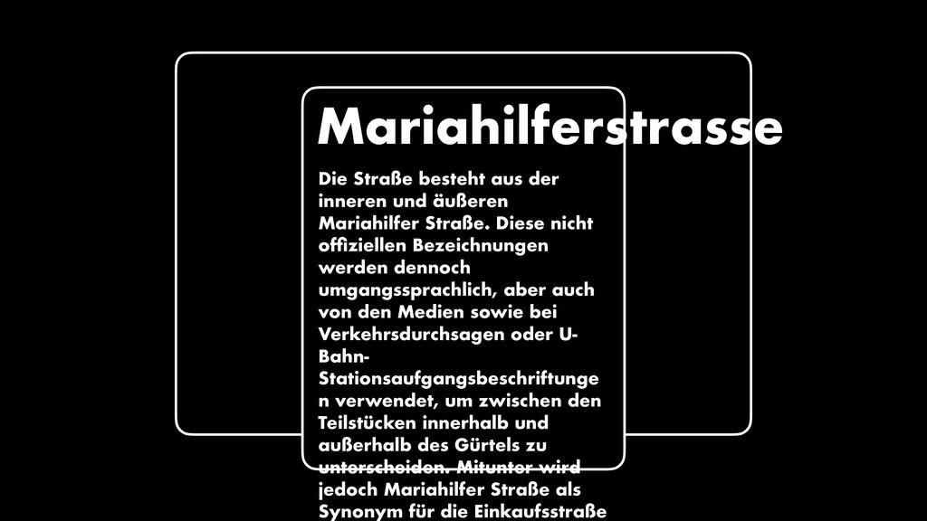 Mariahilferstrasse Die Straße besteht aus der i...