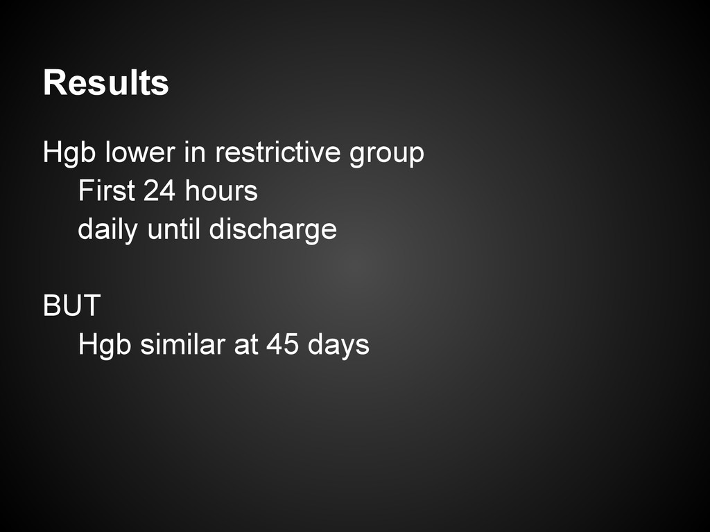 Results Hgb lower in restrictive group First 24...