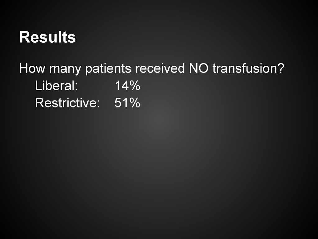Results How many patients received NO transfusi...