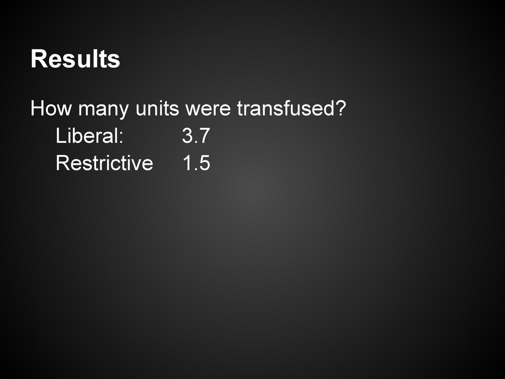 Results How many units were transfused? Liberal...
