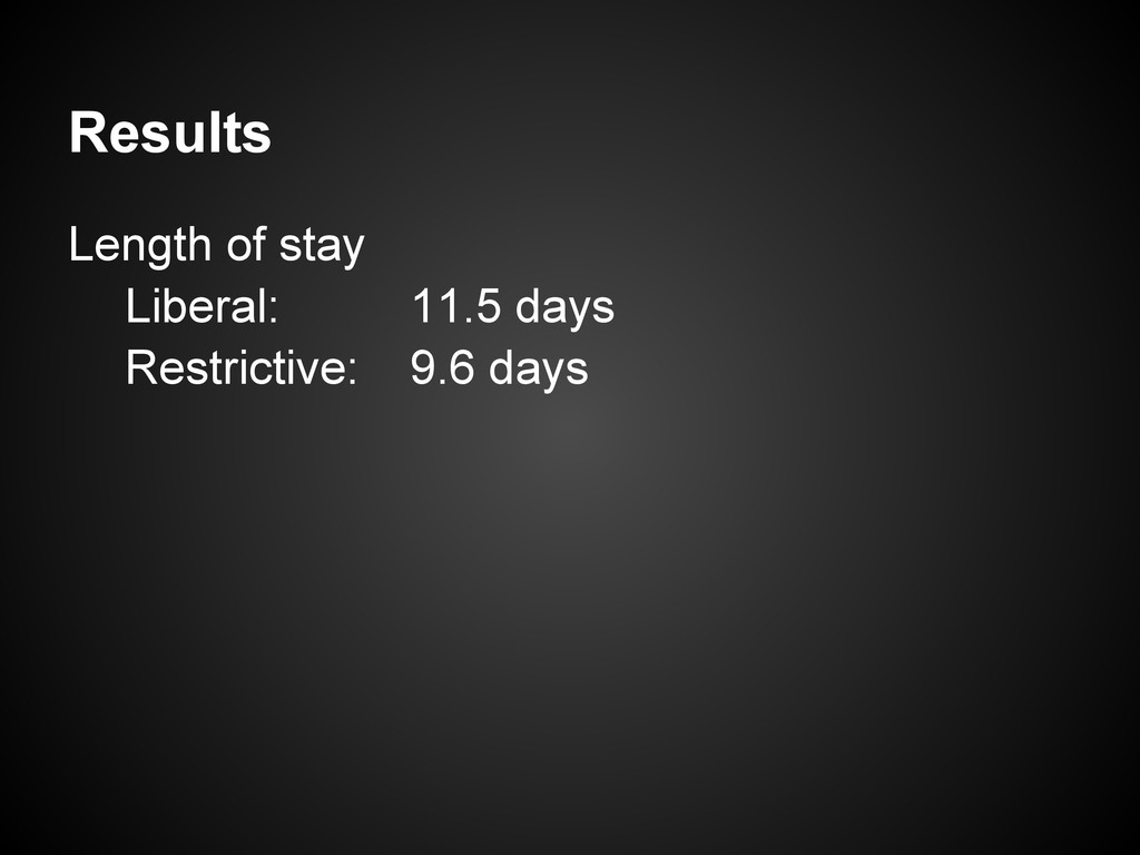 Results Length of stay Liberal: 11.5 days Restr...