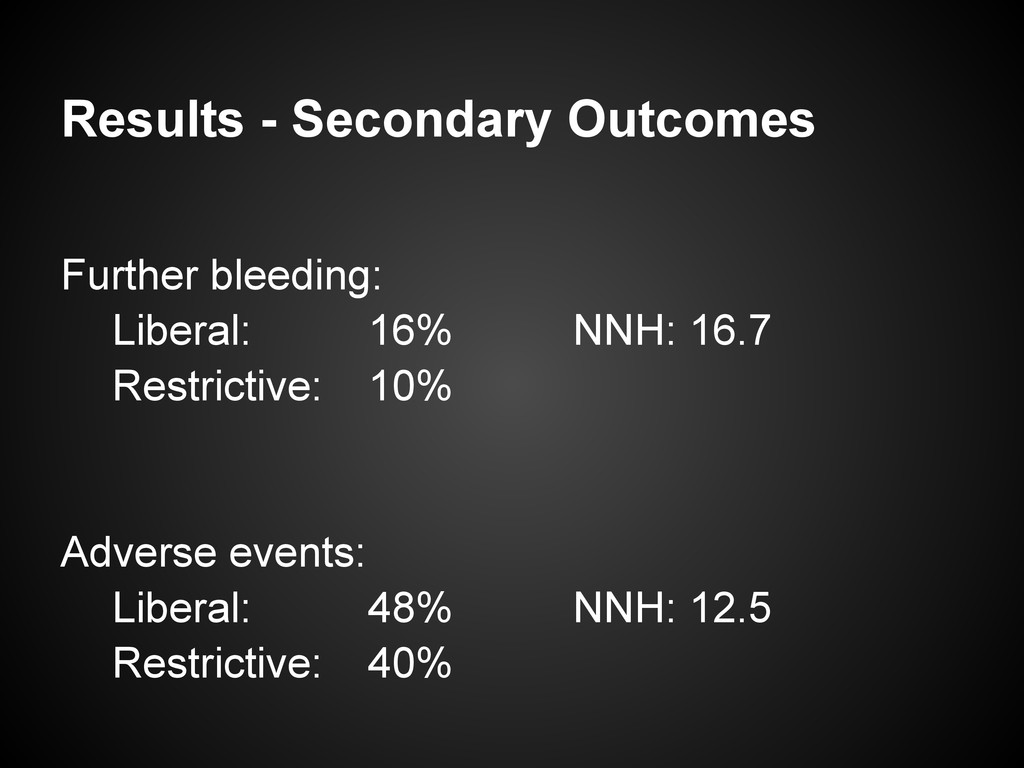 Results - Secondary Outcomes Further bleeding: ...
