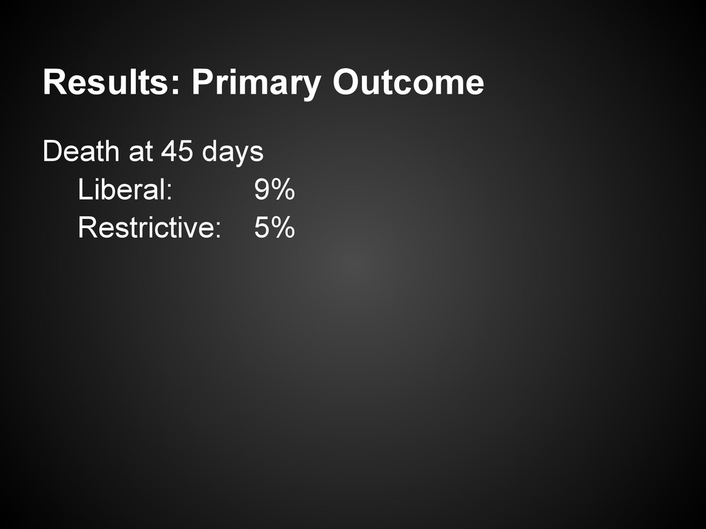 Results: Primary Outcome Death at 45 days Liber...